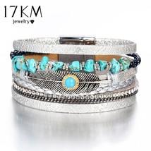 17KM® Vintage Wide Leaf Stone Charms Bracelet Bangles For Women Multiple... - $6.79