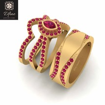 Solid 10k Yellow Gold Marquise Cut Ruby Pink Halo Wedding Ring Set Promi... - $3,859.99