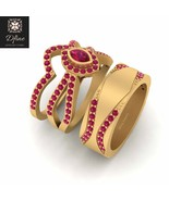 Solid 10k Yellow Gold Marquise Cut Ruby Pink Halo Wedding Ring Set Promi... - $22.684,57 MXN