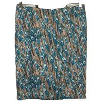 Talbots Pencil Skirt Women Size 14 Peacock Print Green Tan Zipper Lined NEW - $41.58