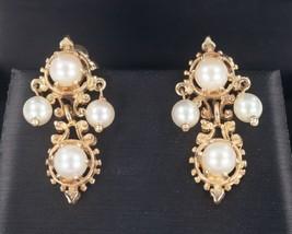 14k or Jaune Perle Pendantes Vis-à Sans Post Boucles D'Oreilles Magnifique - $445.50