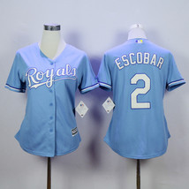 Women Kansas City Royals 2 Alcides Escobar Baseball Jersey Light Blue - $42.99