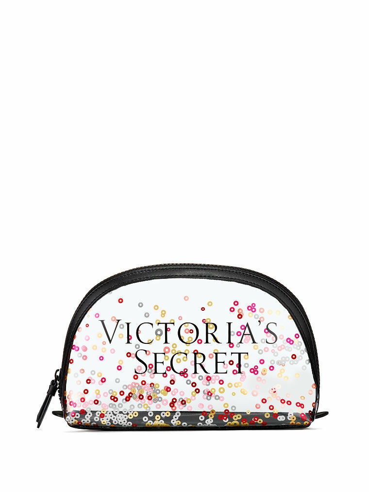 VICTORIA'S SECRET SPARKLE SEQUIN CLEAR MAKEUP COSMETIC BEAUTY BAG ORGANIZER