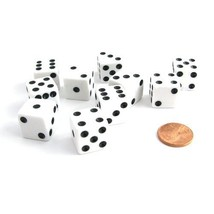 Set of 10 Six Sided D6 16mm Standard Dice White - $7.43