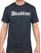 Deadline Hommes Bleu Marine Ol' Ancien Anglais D Lettres T-Shirt Nwt