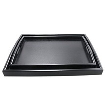 DILLMAN Serving Tray Large Black Wood Rectangle Food Tray Butler Tray Br... - $55.28