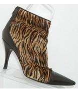 Via Spiga zebra print faux fur pointed toe leather rear zip bootie heels... - $18.49