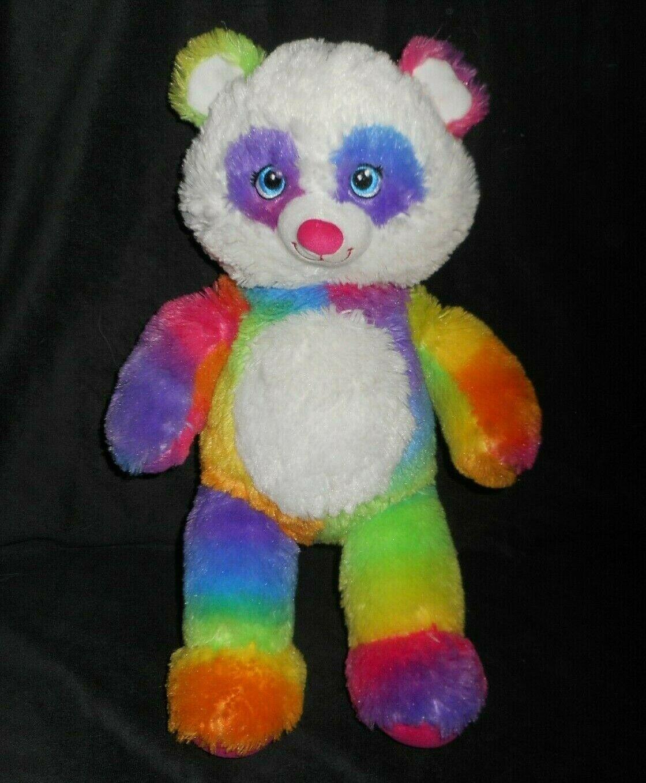 "18"" Build a Bear Pop Of Color Rosa Arcoiris Panda Osito Peluche Plush Toy"