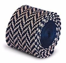 Frederick Thomas tricoté mince marine bleu et rose en épi Cravate ft3285