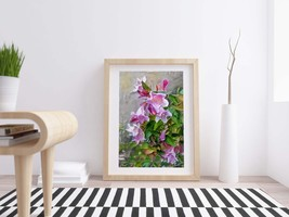 Pink Flowers - Digital Print Download, Oil Painting Effect, Photo of a f... - $4.20