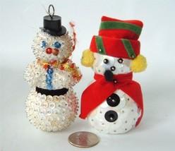 Vintage 2 Hand Made Bead Sequin Xmas Ornaments Snowman Figures 3D Figural - $19.79