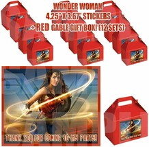 Wonder Woman Party Favor Boxes Thank you Decals Stickers Loots Party Can... - $24.70