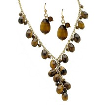 PalmBeach Jewelry Genuine Tiger's Eye Necklace and Earrings Gold Tone Set - $24.49