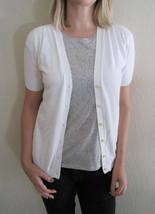 TALBOTS Women's White Short Sleeve Cardigan Sweater Size Medium - $24.95