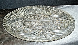 Heavy Glass with Beautiful Etched Design Serving Platter AA19-CD0054 Vintage