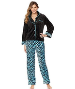 Soft Cozy ButtonDown Pajama Set, Aqua Leopard, Size XS/S - £17.06 GBP