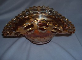 Fenton Marigold Peach Apricot Carnival Glass Bowl Dish Basket Weave Lacy... - $44.55