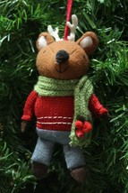 HANDCRAFTED PLUSH WOODLAND REINDEER DRESSED UP w/ SCARF CHRISTMAS TREE O... - $12.88