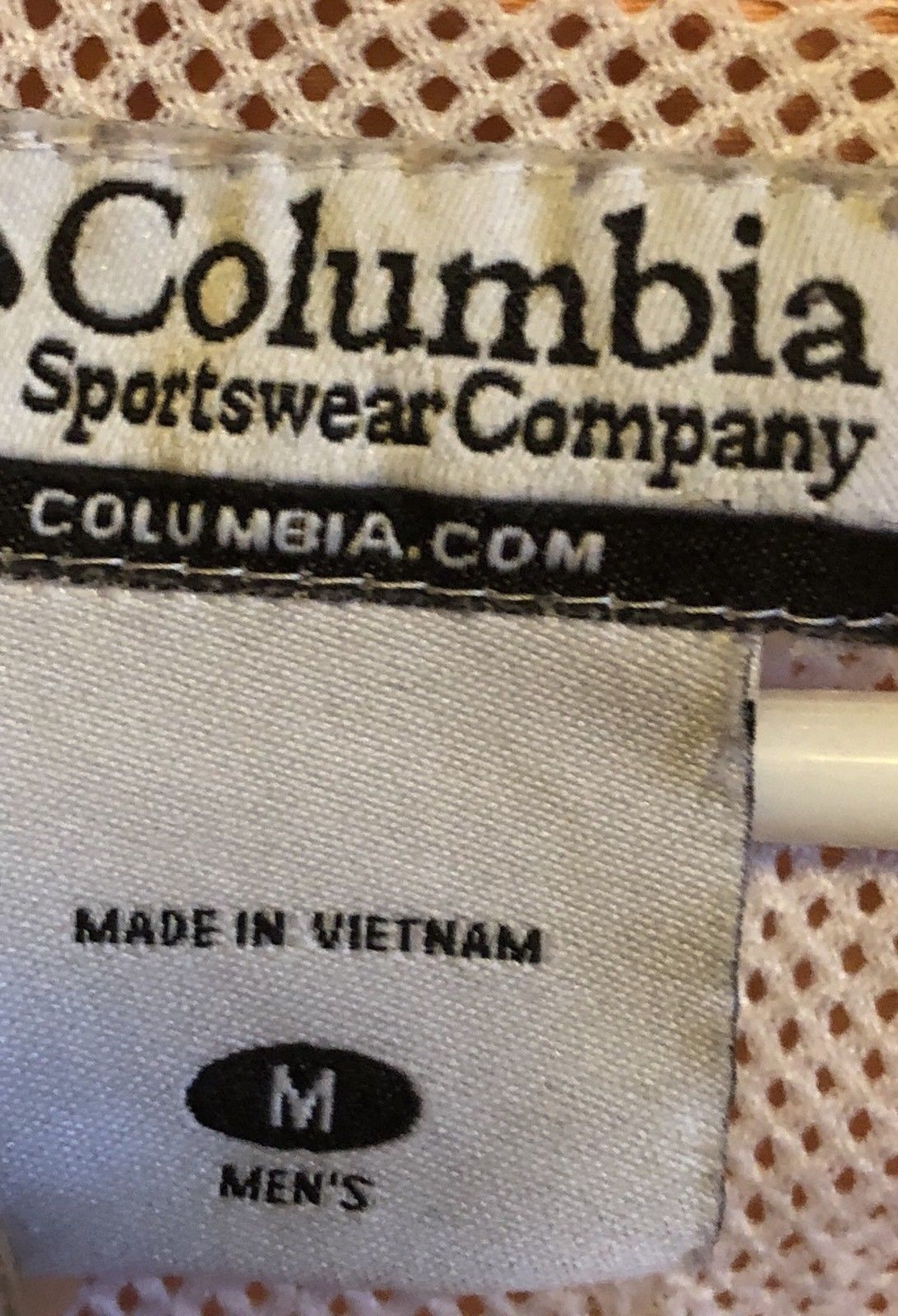 Mens Columbia PFG Performance Fishing Gear Medium Peach Short Sleeve Shirt