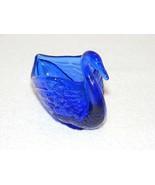 "FENTON DEEP BLUE GLASS 5 X 4"" SWAN TRINKET BOWL GUC  - $19.99"