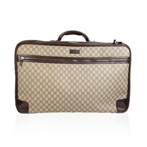 Authentic Gucci Brown Monogram Canvas Web Suitcase Travel Bag - $1,108.80