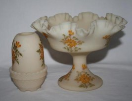 Signed Fenton Satin Custard Fairy Lamp & Compote Yellow Flowers image 2