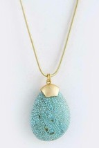 Large Turquoise Teardrop Matte Gold Necklace Gold tone Chain - $17.25