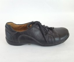 Clarks Unstructured Oxford leather sneaker casual black leather women's 7W - $28.04