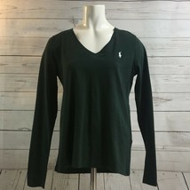 Polo Ralph Lauren Green / White Pony Long Sleeve V Neck T Shirt Women's ... - $33.20