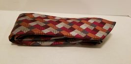 Sexy Geoffrey Beene 100% Silk Red Blue Silver Patchwork Diamonds Tie Necktie image 10