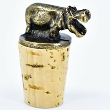 South African Cast Metal w Antique Brass Finish Hippo Wine Bottle Cork Stopper image 1