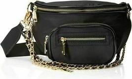 Steve Madden Bcharlie Black Nylon Belt Bag Fanny Pack Gold Zip Around Ch... - $31.66