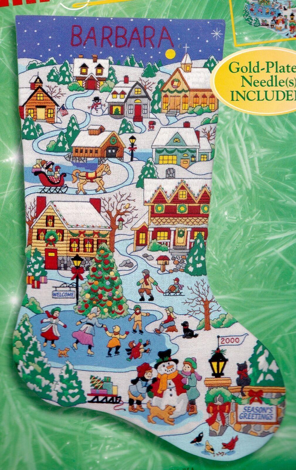 Bucilla Holiday Scenes Christmas Village Crewel Embroidery Stocking Kit 84302 - $232.95
