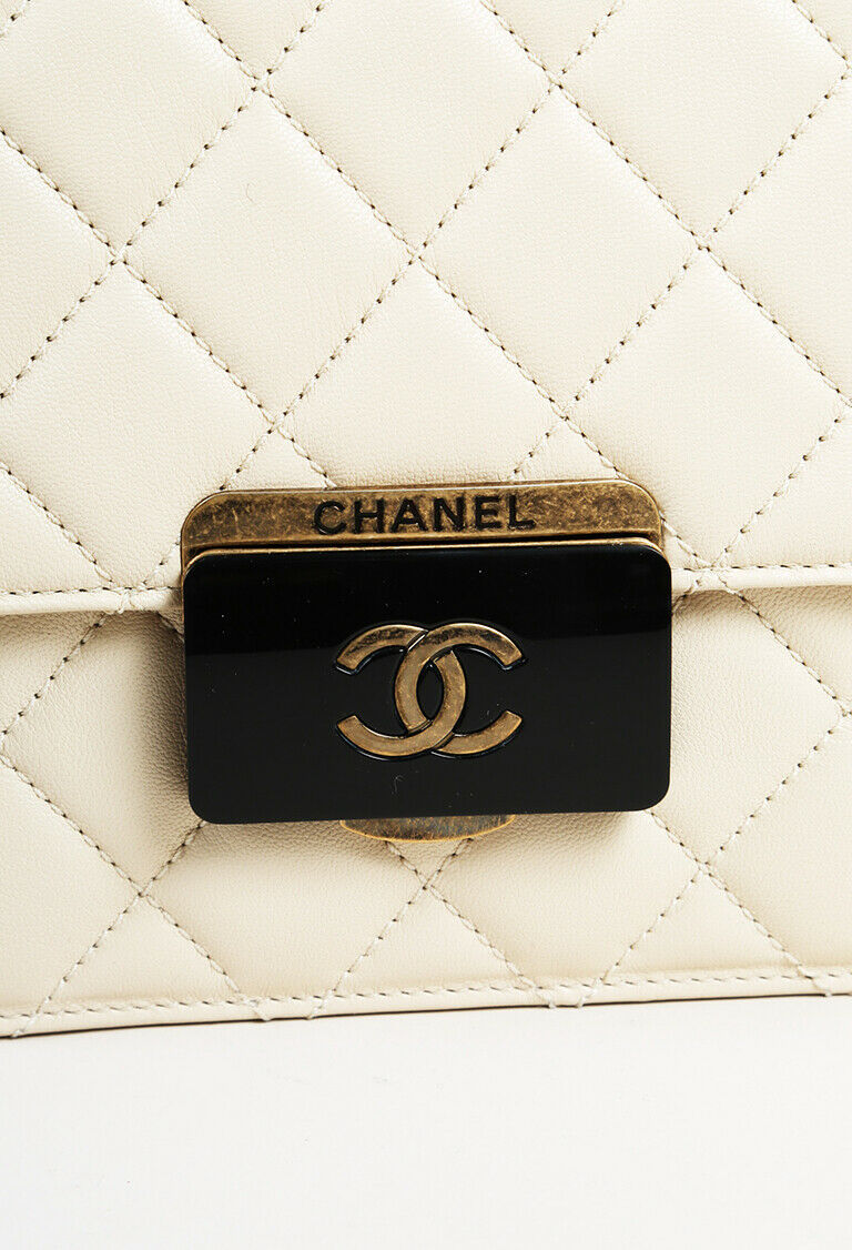 "Chanel 2016 Quilted Leather Medium ""Beauty Lock"" Flap Bag"