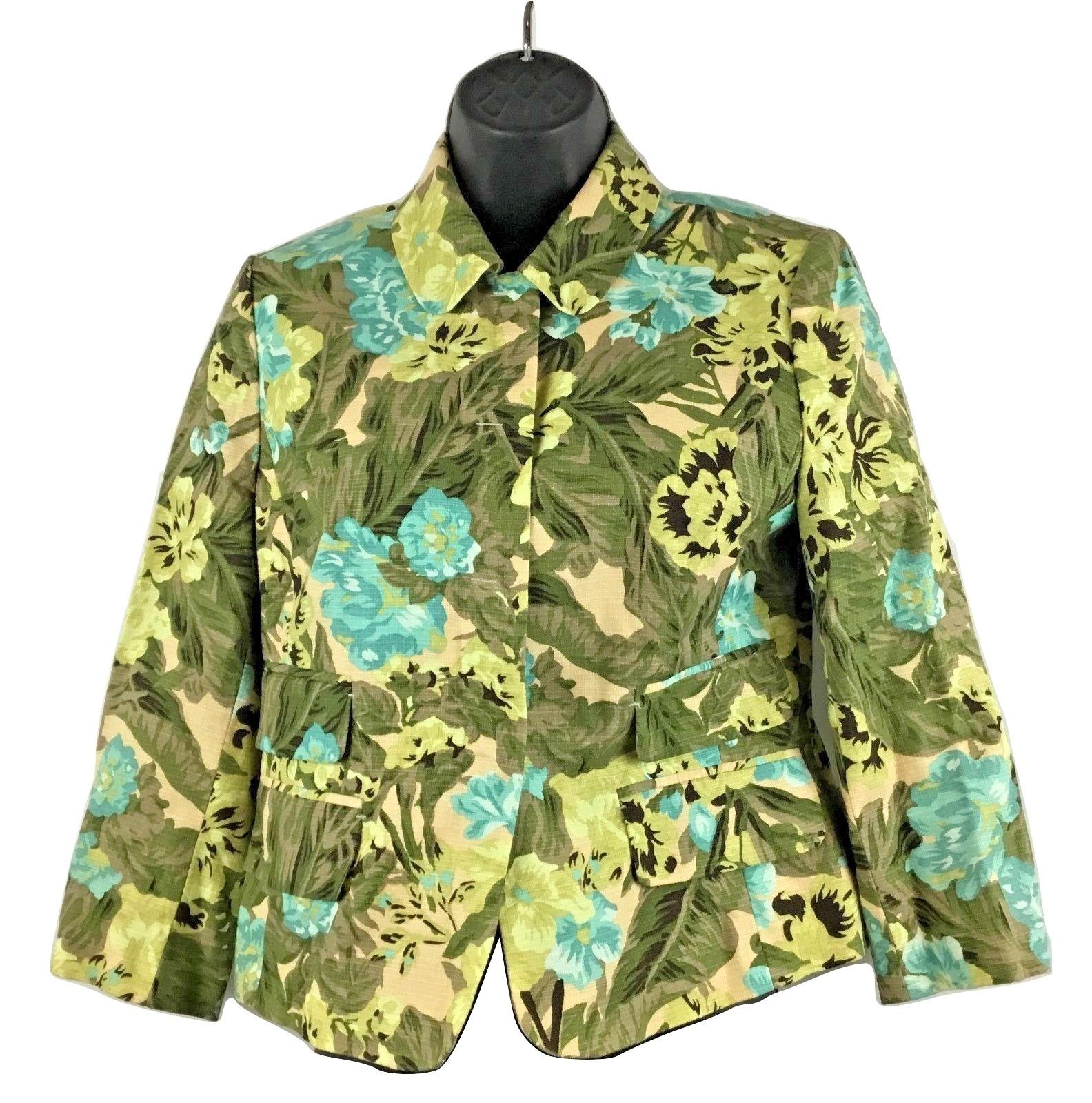 Ann Taylor Loft Long Sleeve Cotton Jacket Green Floral Fully Lined Blazer Size 6 - $23.33