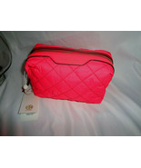 TORY BURCH PERRY QUILTED NYLON SMALL COSMETIC CASE MAKEUP BAG HOLI PINK POUCH - $89.08