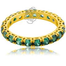2.49CT Donna Meravigliosi Smeraldo Fede Nuziale Anniversario 14K Oro S7 - £71.18 GBP+