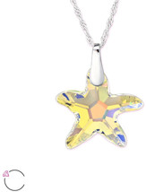 Atik Jewelry Silver Starfish Necklace With Swarovski Crystal - Heliotrope - $130.88