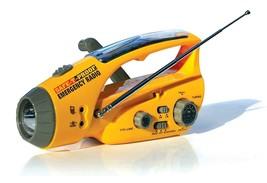 Safe-T-Proof Solar, Hand-Crank Emergency Radio, Flashlight, Beacon, Cell... - $33.65