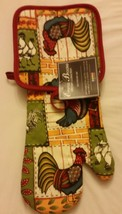 2 pc Set PRINTED Kitchen Pot Holder & Oven Mitt by ROOSTER by HD - $7.91