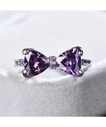 Cute Bowknot 4 Claws Engagement Ring Purple Cubic Zircon Female Women We... - $8.17
