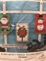 "Bucilla Christmas Felt Kit 8022 Jeweled Mini Banners Ornaments 9"" Santa ... - $24.52"