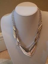 ROBERT LEE MORRIS Soho Sculptural Metal Bead Silver Plated Mesh Necklace... - $40.04