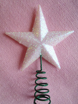 Mini White Mica Glitter Star Topper Christmas Feather Tree Miniature Dol... - $6.99