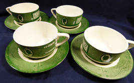 VTG by Royal China Colonial Homestead green lot of 4 tea cup & saucer sets - $22.18