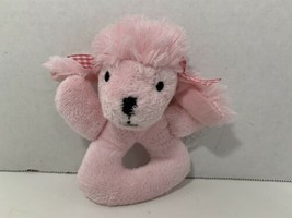 Koala Baby plush pink poodle puppy dog baby ring stuffed animal toy no rattle - $3.95