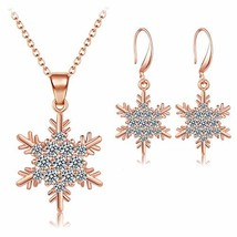 LZHLQ Gold-Plated Ladies Necklace Earrings Set Snow Crystal Pendant Necklace Ear