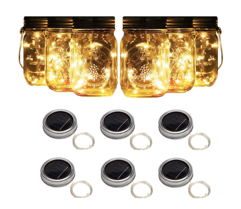 6 Solar Mason Jar Lights String Fairy Firefly Lights Lids Mason Jar Patio lights - $23.99