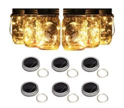6 Solar Mason Jar Lights String Fairy Firefly Lights Lids Mason Jar Pati... - $23.99