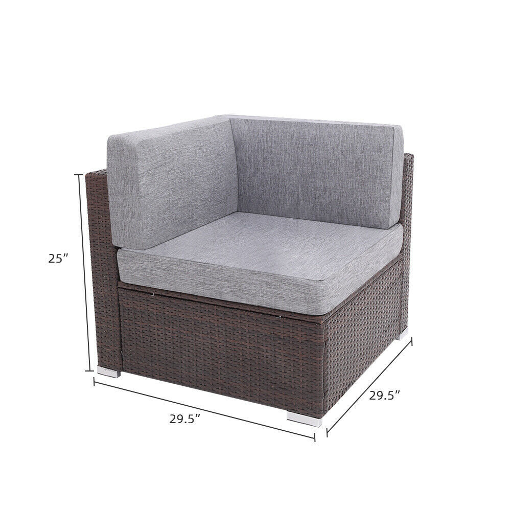 7 Pieces Patio PE Wicker Rattan Corner Sofa Set image 5